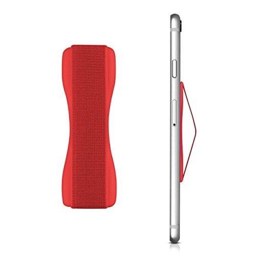 kwmobile Smartphone Fingerhalter Griff Halter - Selbstklebende Handy Fingerhalterung - Finger Halter kompatibel mit iPhone Samsung Sony Handys Rot