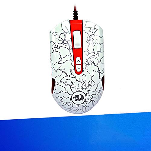 JSX Wired RGB Gaming Mouse 2400 DPI & 4 DPI Settings,USB Optical Computer Laptop PC Mouse Ergonomic Mice for Games and Office,White