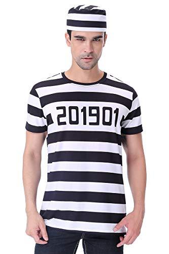 COSAVOROCK Maglietta del Costume da Carcerato Uomo con Cappello (L, Striscia)