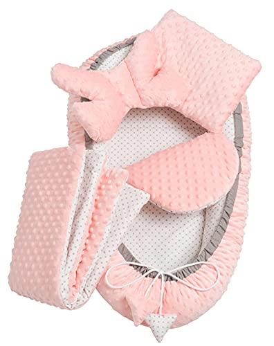Solvera_Ltd - Juego de cuna de 5 piezas de terciopelo con nido de 90 x 50 cm, extraíble y cojín plano, 100 % algodón, color rosa