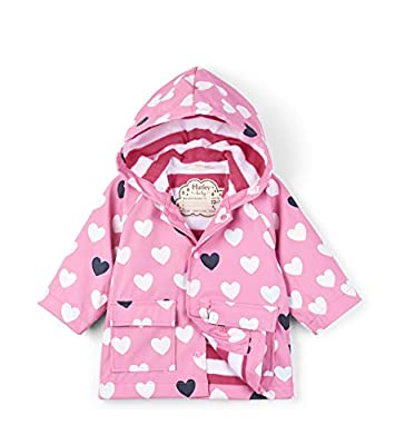 Hatley Girls' Big Printed Raincoats, Color Changing Lovely Hearts, 7 Years