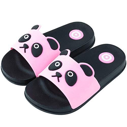 Acfoda Badelatschen Kinder Hausschuhe Jungen Mädchen Sommer Leicht Weiche Dusch-& Badeschuhe rutschfest Strand Pantoletten Flache Schlappen Slipper, 33-34 EU, Pink