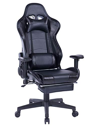 HEALGEN Back Massage Gaming Chair with Footrest,PC Computer Video Game Racing Gamer Chair High Back Reclining Executive Ergonomic Desk Office Chair with Headrest Lumbar Support Cushion (GM002 Black) chair footrest gaming