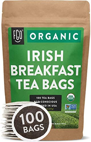 Organic Irish Breakfast Tea Bags 100 Tea Bags Blend of Chinese Keemun and Indian Assam Black product image