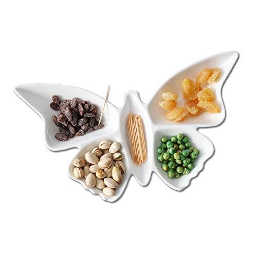 WZHZJ Mariposa de Porcelana refrigerios Platos de Fruta Platos Plato Pastel de Caramelo Plato Ensalada Bandeja de cerámica Vajilla Decoración de vajilla