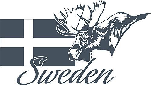 GRAZDesign väggklistermärke deko dekal Sverige – deko vardagsrum modern Sverige karta – väggtatuering älg / 71 x 40 cm/841 Blue Grey