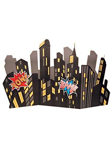 BirthdayExpress Superhero Comics Party Supplies Scene Setter - Standup City Scape Room Decoration