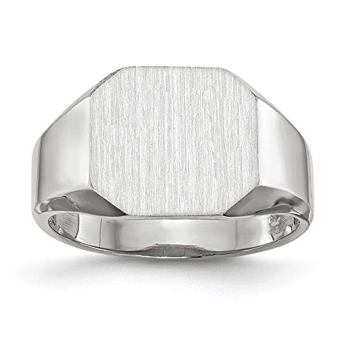 14k White Gold 11.0x10.5mm Closed Back Mens Signet Band Ring Size 10.00 Man Fine Jewellery For Dad Mens Gifts For Him