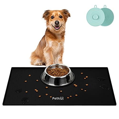 Pethee Futtermatten für Hunde Katzen, Napfunterlage wasserdichte und rutschfeste Silikon Fressnapf Unterlage, Hundefuttermatte Katzenschalenmatte, Tiernahrung Pad (Schwarz 48x30cm)