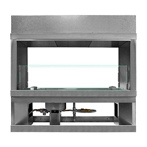 Sale!! Firegear Kalea Bay Linear Outdoor Fireplace with See-Through Conversion Kit (OFP-72LECO-NLED-...