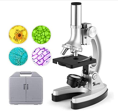 TELMU Microscope Kit 300X-600X-1200X 70pcs+ Home Use Monocular Microscopes with Micro-Projector, Cordless LED Electric Illumination and Portable Box for Students Kit