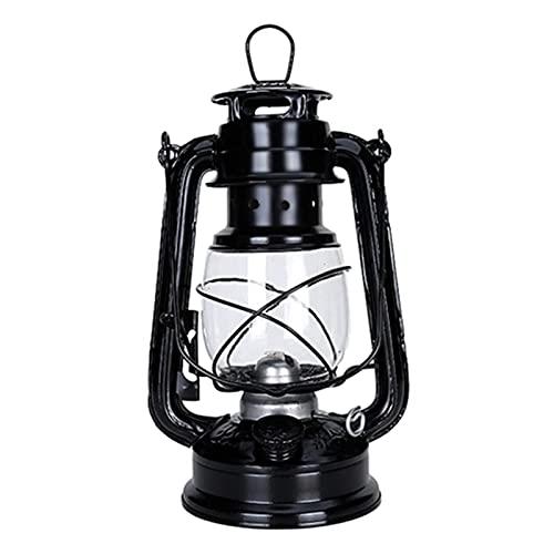 ZzheHou Lámpara De Kerosene Lámpara de keroseno Linterna portátil al Aire Libre Camping Retro lámpara de Mesa luz para La Decoración del Porche del Jardín del Patio (Color : Black, Size : 25 x11.6cm)