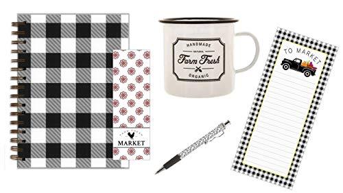 Farmers Fresh Tasse, schwarzer Buffalo Plaid Journal, Farmers Market Notizblock und Custom Ink Pen mit Lesezeichen-Set