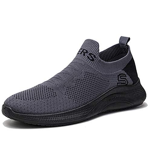 Zapatillas de deporte para hombre, ligeras, modernas, informales, cómodas, transpirables, de malla sin cordones, (gris), 40 EU