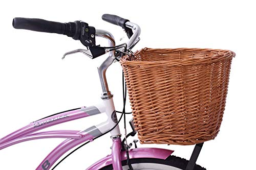 18' D SHAPED WICKER FRONT BIKE CYCLE BASKET LIGHTWEIGHT AND TRADITIONAL