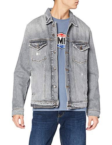 Tommy Jeans Herren Classic Trucker Langarm Jeansjacke Denim Jacke Grau (dust grey Rigid DESTRUCTED 911) Large