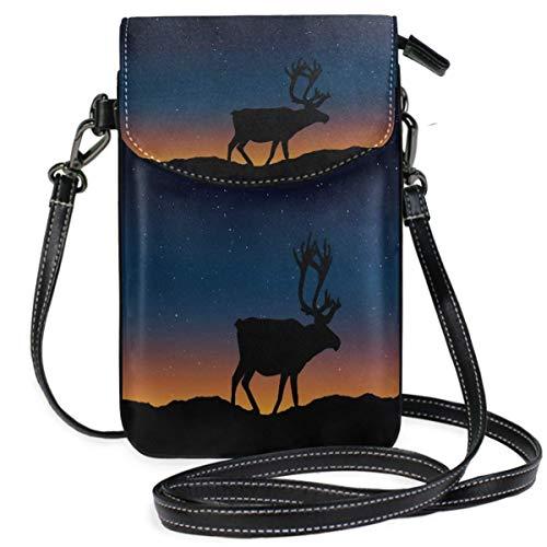 XCNGG Monedero pequeño para teléfono celular Deer Silhouette Landscape Nature Cell Phone Purse Wallet for Women Girl Small Crossbody Purse Bags