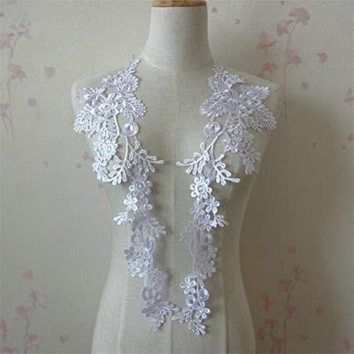 1 Pair Embroidery Applique Wedding Lace Floral Motif Sewing Trims Decoration (White)