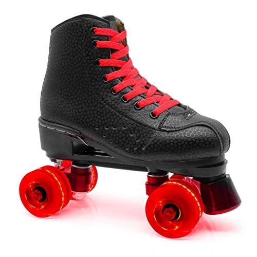 Patines de ruedas de piel sintética de alta calidad, patines de cuatro ruedas, patines de doble fila, patines de rodillo brillantes, patines para mujeres y hombres, unisex para adultos al aire libre (rueda roja roja, 38)