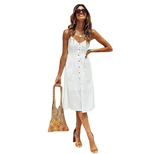 StarLifey Damen V Ausschnitt Spaghetti Sommerkleid Elegant Vintage Cocktailkleid Swing Strandkleid mit Knöpfen
