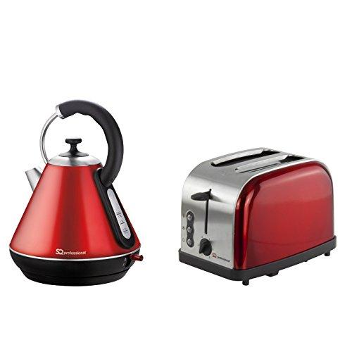 Kabelloser Wasserkocher und Toaster-Set, Edelstahl - Rot