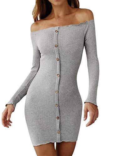 ASKSA Damen Pullover Kleider Schulterfrei Langarm Stricken Minikleid Eng Strickkleid Elegant Wickelkleid(Grau,S)