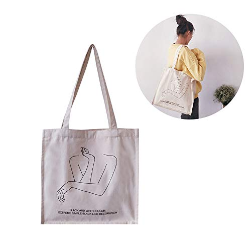 1 Pezzo Borsa a Tracolla in Tela, Borsa Tote per Donna Tela Borsa Shopping, Riutilizzabile di Eco-Friendly Shopping Bag, Tela con Manici Pittura Stampa Borsa Shopper, per Uso Quotidiano