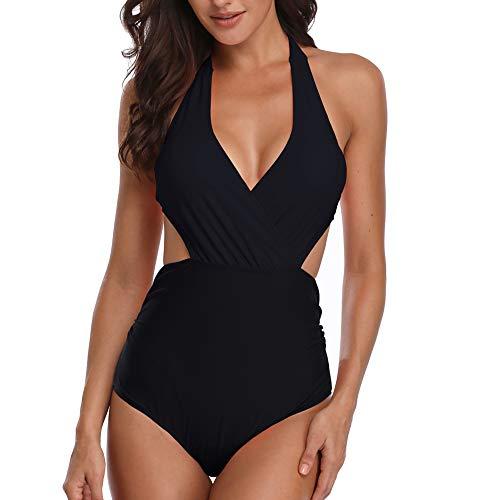 Misolin Damen Badeanzug Neckholder V-Ausschnitt Rückenfrei Einteiliger Bademode Bauchweg Cutouts Strandbikini, Schwarz, M (EU 36-38)