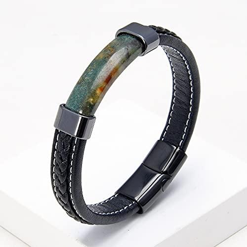 FIISH Pulsera de Cuero Trenzado Negro de Piedra Natural de Lujo para Hombre, Hebilla magnética de Acero Inoxidable, Pulsera de Moda, joyería para Hombre