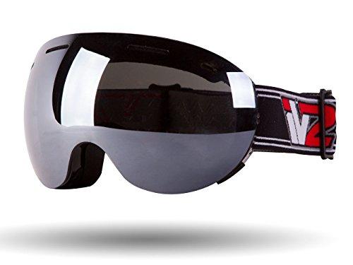 IV2 Gloss Black High Performance Ski and Snowboard Goggles | Mirrored, Ionized, Dual Layer Anti-Fog...