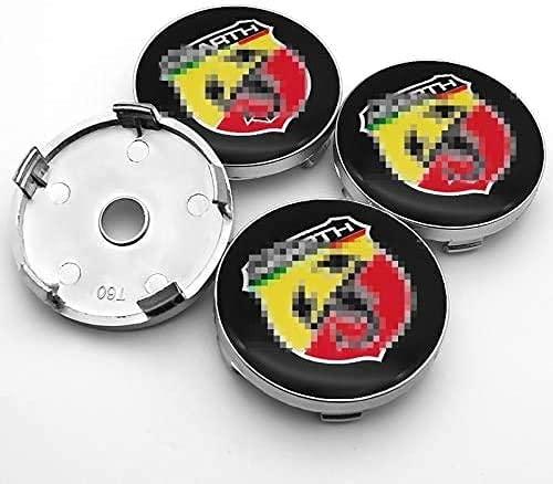4 Piezas 60mm Coche Tapacubos para Fiat- Abarth- 500 500x 595 1100 Stilo, con Emblema De Insignia Embellecedor Central De Llanta De Rueda Cubre Car-Styling Accesorios
