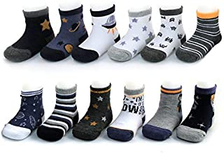 Rising Star Baby Boys Assorted Color Designs 12 Pair Socks Set,  Multi-Color,  Age 0-24M