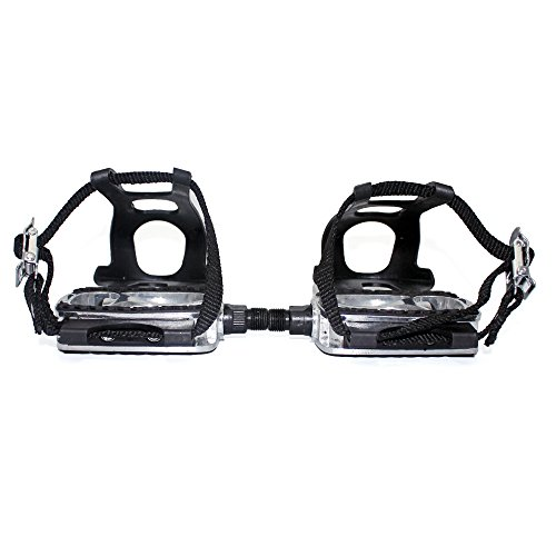 HILAND 9/16 Bicycle Pedals with Toe Clips and Straps, Alloy Bike Pedals for Exercise Bike, Spin Bike…