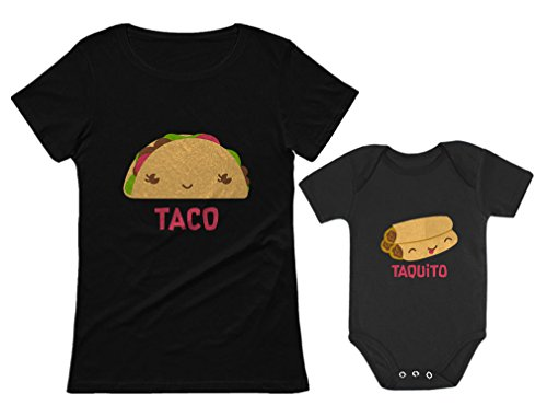Taco & Taquito Baby Bodysuit & Women's T-Shirt Set Mommy & Me Matching Outfit Taco Black Large/Taquito Black 6M (3-6M)