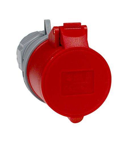 as - Schwabe CEE-Kupplung – 400 V / 16 A Kupplung mit Schraubanschlüssen – CEE-Adapter 5-polig / 6 h für den Außenbereich, Baustellen & Camping geeignet – IP44 – Grau / Rot I 60425