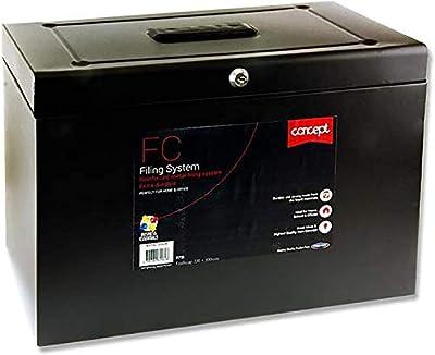 Premier Stationery Concept Foolscap Metal Filing System - Black Safe & Secure