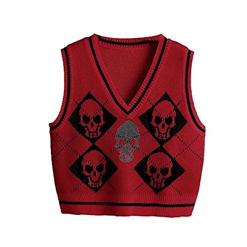 Chaleco de punto gótico de Halloween para las mujeres esquelético Argyle estampado patrón V-cuello sin mangas Tops, rojo vino, XL