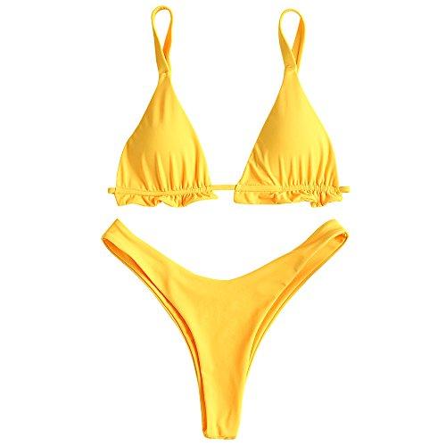 ZAFUL Damen Sexy Rüschen Bikini High Cut Tanga Zweiteiliger String Badeanzug(Gelb M)