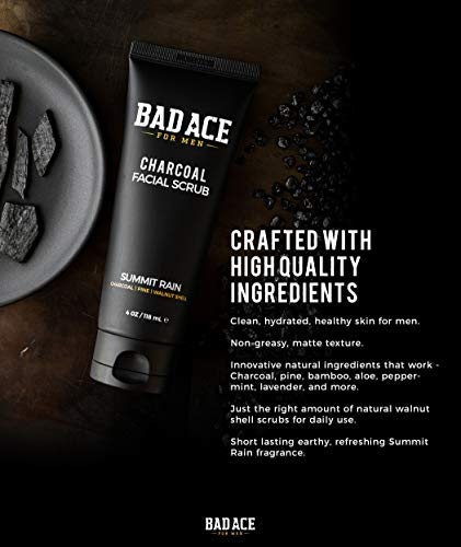 41ua51SM6PL - BAD ACE Charcoal Facial Wash with Scrubs for Men - Summit Rain