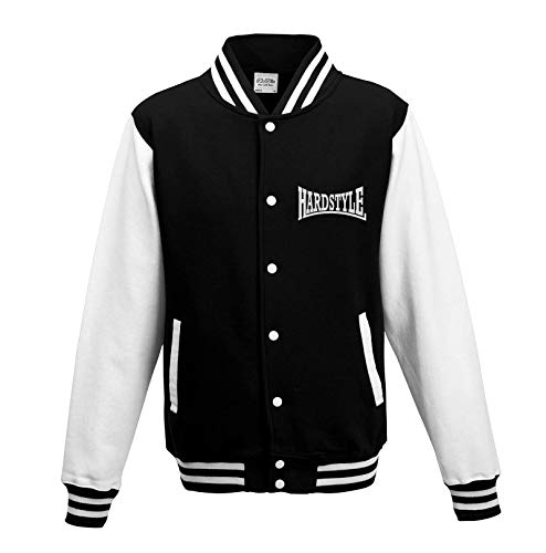 KNOW-MORE-STYLEZ Hardstyle Logo College Jacke (L, Schwarz/Weiss)