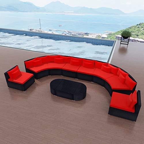 FAMIROSA Set de Muebles de jardín 11 pzas y Cojines ratán sintético Rojo
