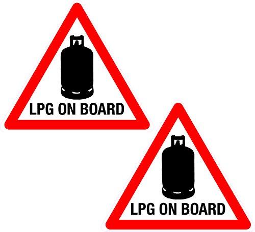 2 autocollants en vinyle pour caravane/camping-car avec pictogramme bonbonne de gaz et inscription « LPG On Board » (GPL à bord)