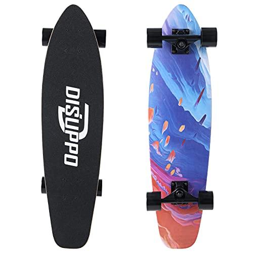 DISUPPO Cruiser Skateboard, patineta Completa para Principiantes, 7 Capas de Arce de Nivel A, Doble Patada cóncava estándar y patinetas de Trucos para niños Adolescentes