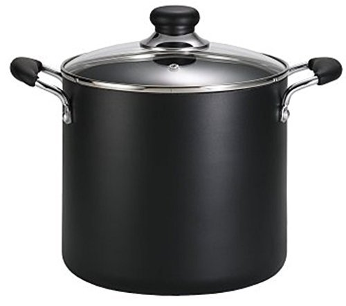 T-fal A92280 Specialty Total Nonstick Dishwasher Safe Oven Safe Stockpot Cookware, 12-Quart, Black by T-fal