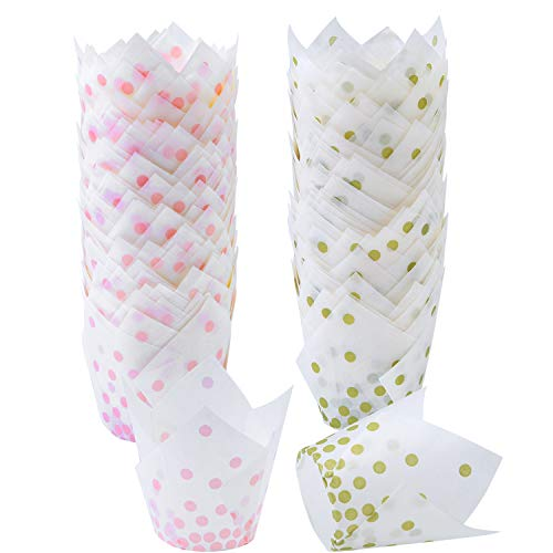 Ruisita 150 Pieces Tulip Baking Cups Pink Dot Gold Polka Dot Cupcake Liners Muffin Baking Cup for Birthday, Weddings, Anniversaries, 2 Types (Gold, Pink)