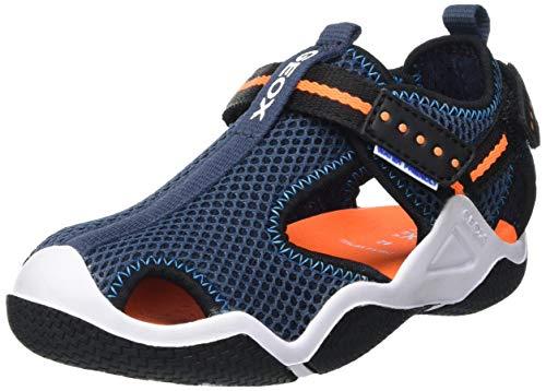 Geox JR WADER A Sport Sandal, NAVY/ORANGEFLUO, 33 EU