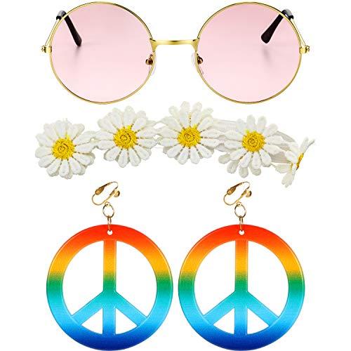Gejoy 3 Stücke Hippie Kostüm Set, Einschließen Sonnenbrille, Friedenszeichen Ohrringen und Sonnenblumen Stirnband für Damen Mädchen Karneval Party Tragen
