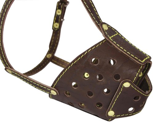 Real Leather Cage Basket Secure Dog Muzzle Brown - Pit Bull, (Circumference 13', Snout Length 3.5')