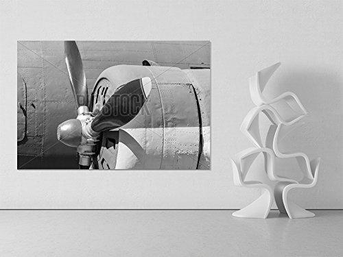 858 Graphics 24 X 36 inch Propeller of Plane Closeup in Monochrome Tones Metal Print