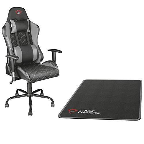 Trust GXT 707R Resto Gaming-Stuhl (Ergonomisch mit Höhenverstellbare Armlehnen) grau + Stuhlunterlage Schwarz (99 x 120 cm)